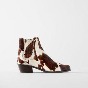 NWT Zara Pony Fur Leather Cowboy Style Boots